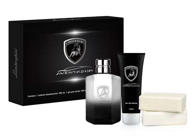 Kit Aventador Lamborghini Colônia 100ml+ 1 gel pós barba 100ml+ 2 sabonetes 100g.