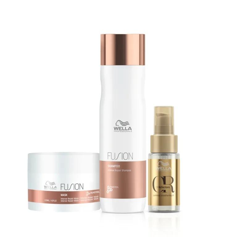 Kit Fusion Wella Professionals Shampoo 250 ml + Máscara 150 ml + Oil Reflections 30ml
