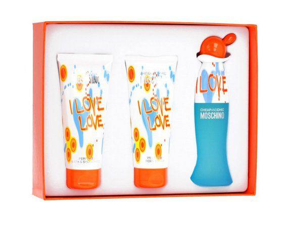 Kit I Love Love Moschino EDT 50ml + Gel de Banho 100ml + Loção 100ml