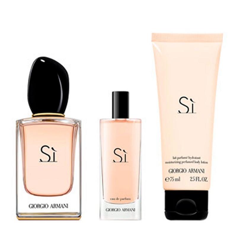 Kit Sí Giorgio Armani Feminino Eau de Parfum 50ml + 15ml + 75ml Body Lotion