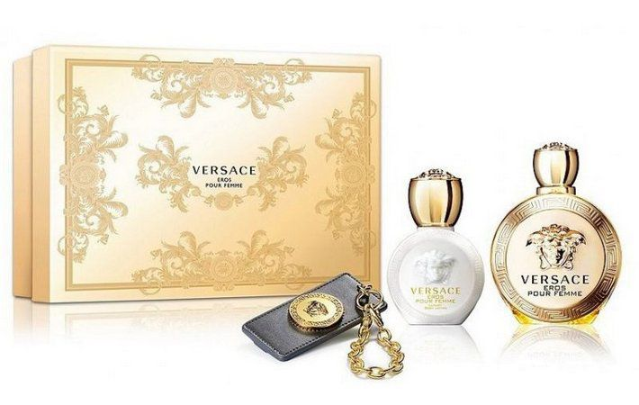 Kit Versace Eros Feminino EDP 100ml + Body Lotion + Chaveiro