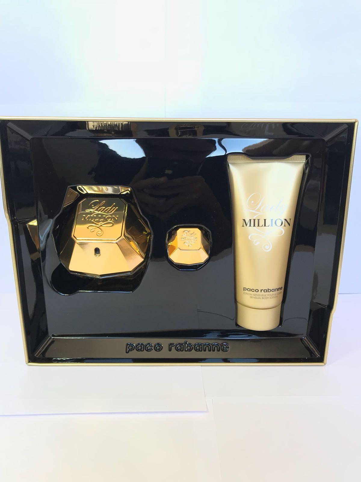 Lady Million Paco Rabanne Feminino Kit EDP 80ML + Loção Corporal 100ML + Miniatura 50ML