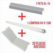 Combo Arandela - 20 placas adesivas + 1 lâmp. 15w + 1 PETG AL-15.
