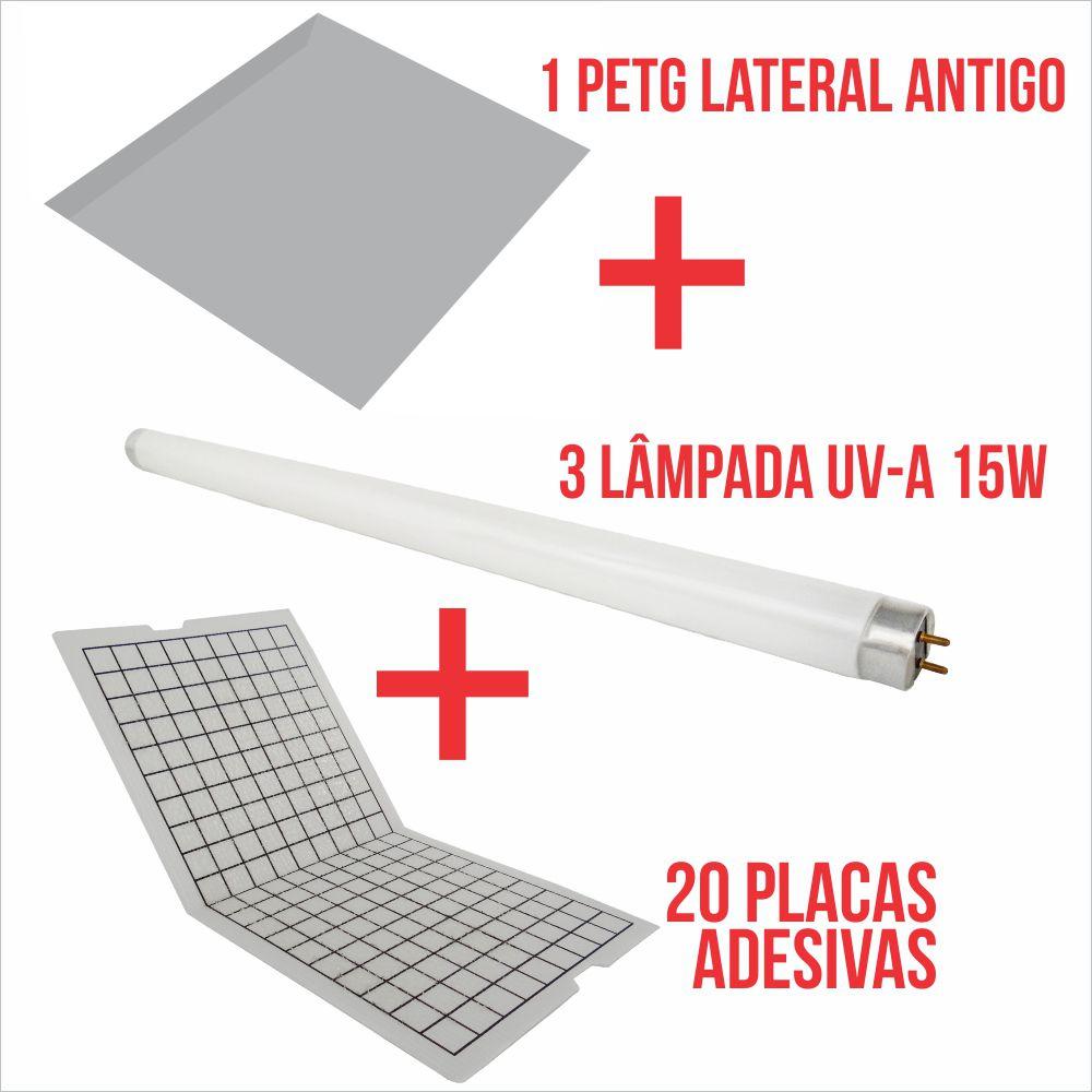 Combo Lateral 2 - 20 placas adesivas + 3 lâmpadas 15W + 1 Protetor Lateral ANTIGO.
