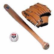 Kit Taco De Baseball Madeira 1 Bola 1 Luva Hyper