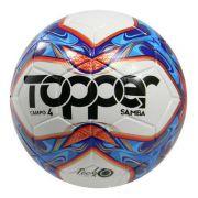 Bola Futebol Campo Topper Samba N 4 - Branco e Azul