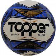 Bola Futebol Society Topper Slick II - Branco e Azul