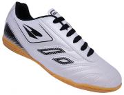 Chuteira Futsal Dray 801 Masculino - Branco/Prata