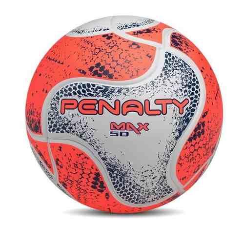 Bola Futsal Penalty Max 50 VIII - Infantil - Branco e Laranja