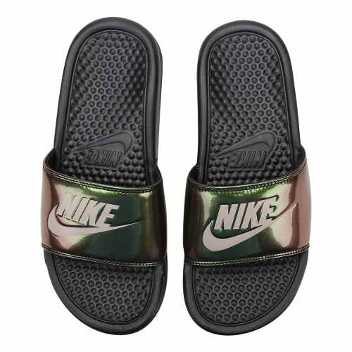 Chinelo Nike Benassi Just Do It Print Feminino - Preto/ Verde