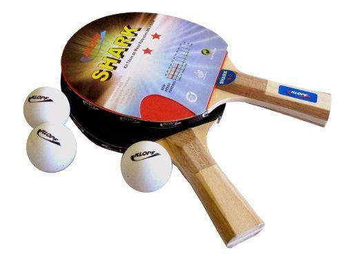 Kit Tênis de Mesa Raquetes E Bolinhas Klopf Shark - Raquete e Bolinhas