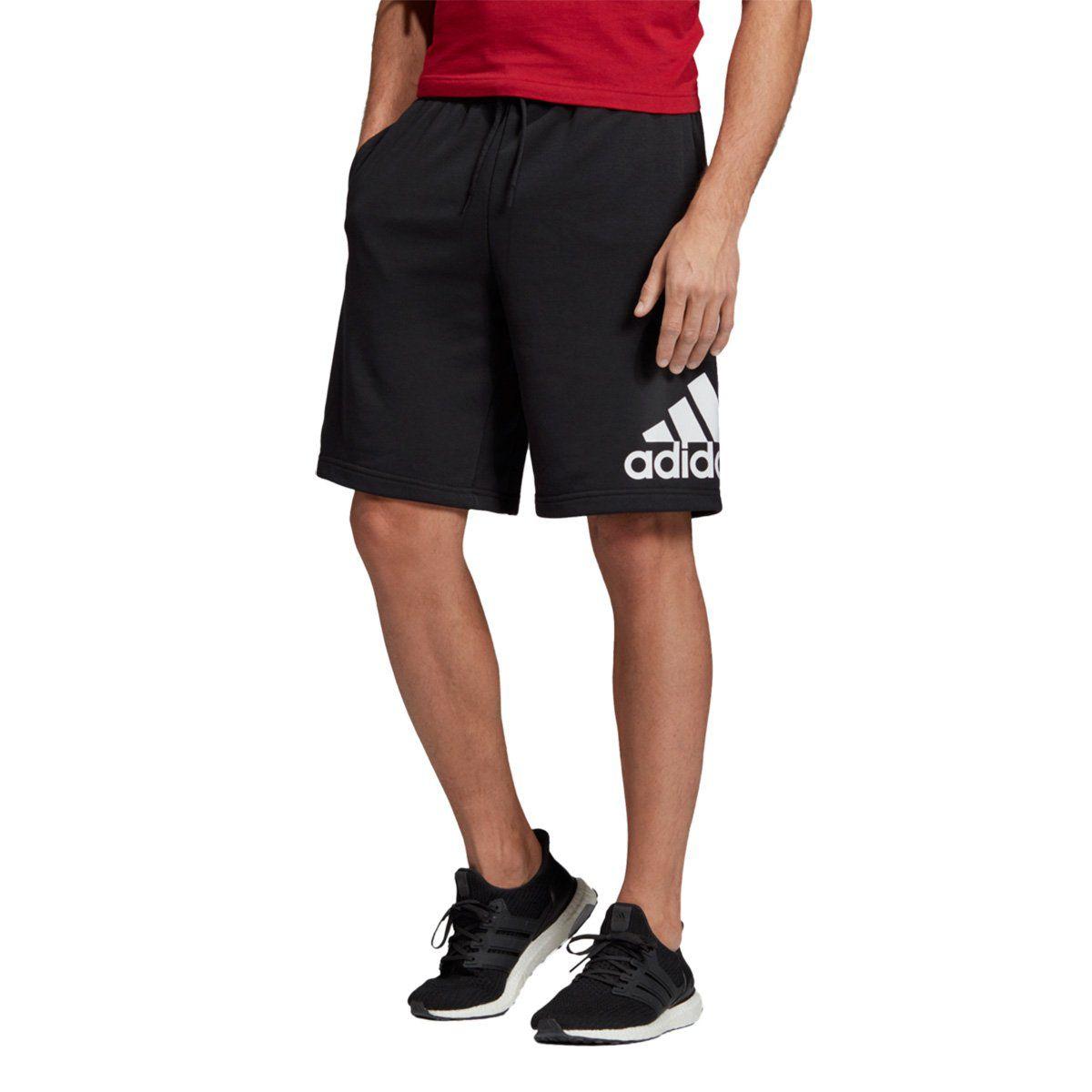 Bermuda Moletom Adidas Bosshort FT - Masculino - Preto e Branco