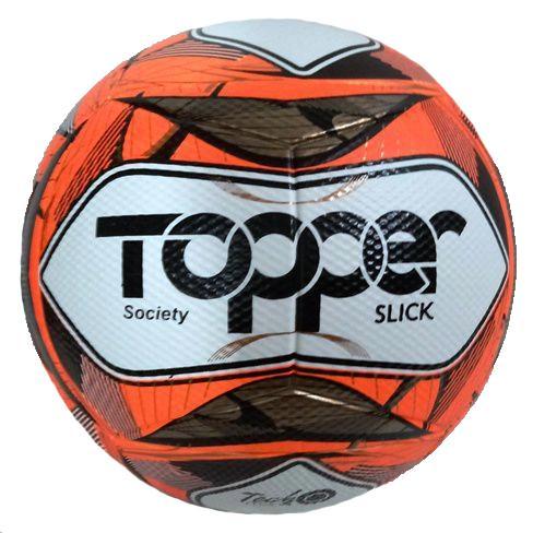 Bola Futebol Society Topper Slick II - Branco e Laranja