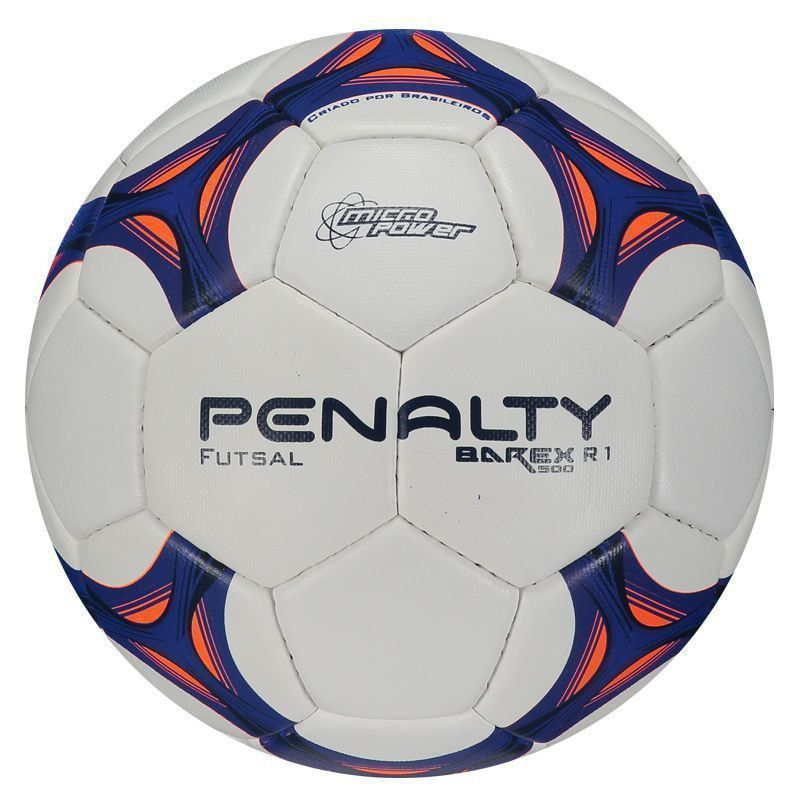 Bola Penalty Futsal Barex 500 R1 VIII - Branco e Azul