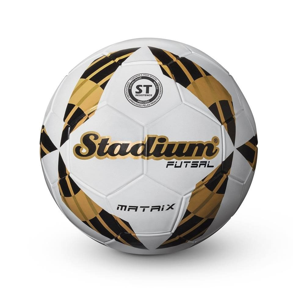 Bola Futsal Stadium Matrix Branco/Dourado