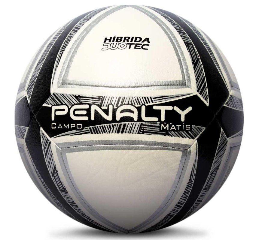 Bola Penalty Campo Matis Duotec X - Branca e Preta