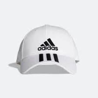 Boné Adidas 6 Painéis  3S Cap Cotton Adulto- Branco / Preto