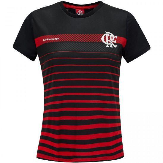 Camisa Babylook Braziline Flamengo Date - Feminino - Preto e Vermelho