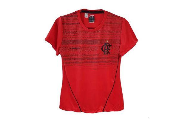 Camisa Babylook Braziline Flamengo Dribble - Feminino - Vermelho e Preto