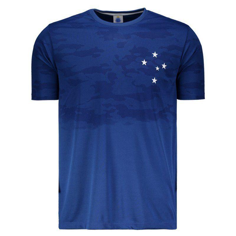 Camisa Cruzeiro Braziline Camo Adulto - Azul