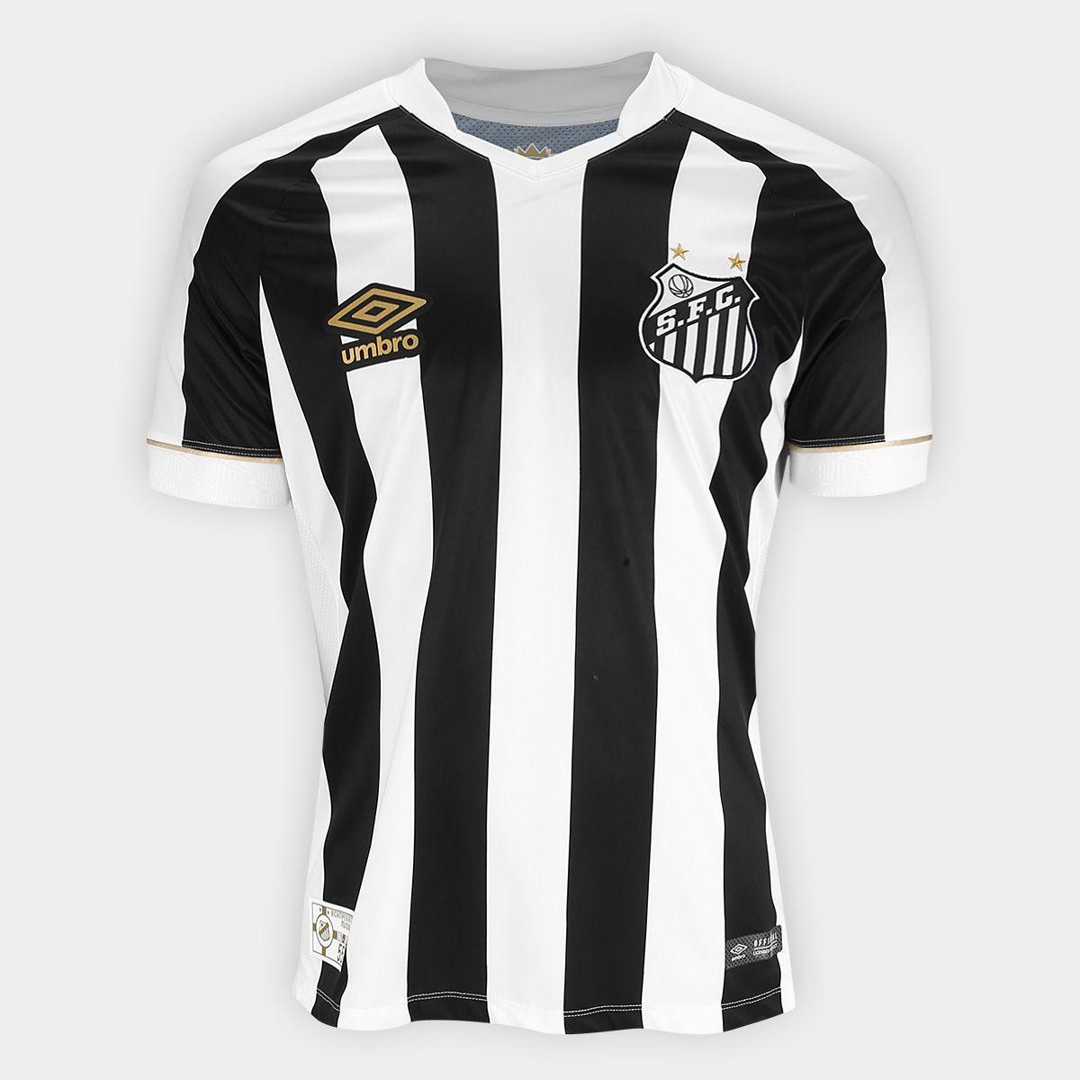 Camisa Santos Umbro Oficial II Masculina - Preta/Branca