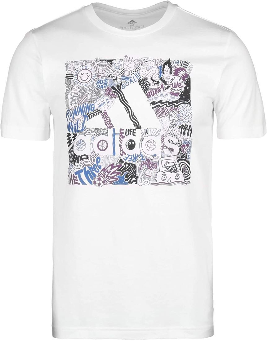 Camiseta Adidas Doodle Badge of Sport Masculina - Branco