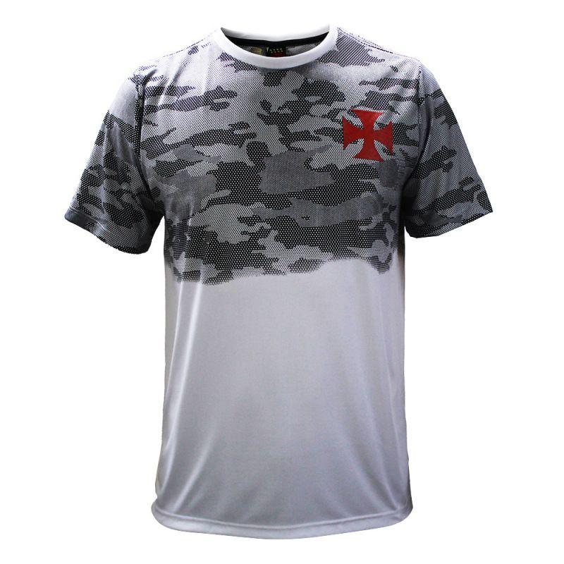 Camisa Vasco Braziline Camo Adulto - Branco/Preto