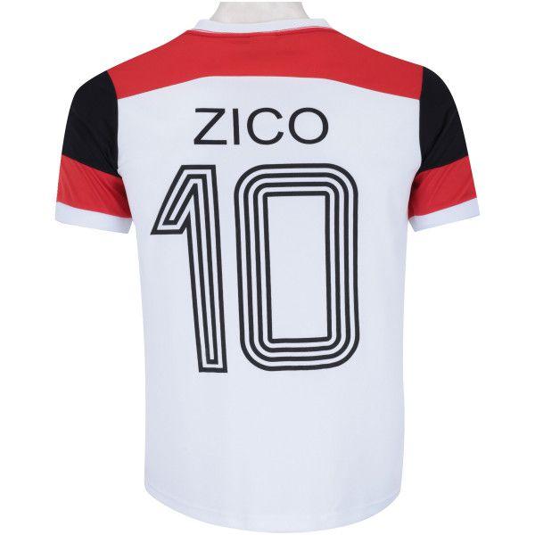 Camiseta Flamengo Braziline Zico Retrô Masculina - Branca