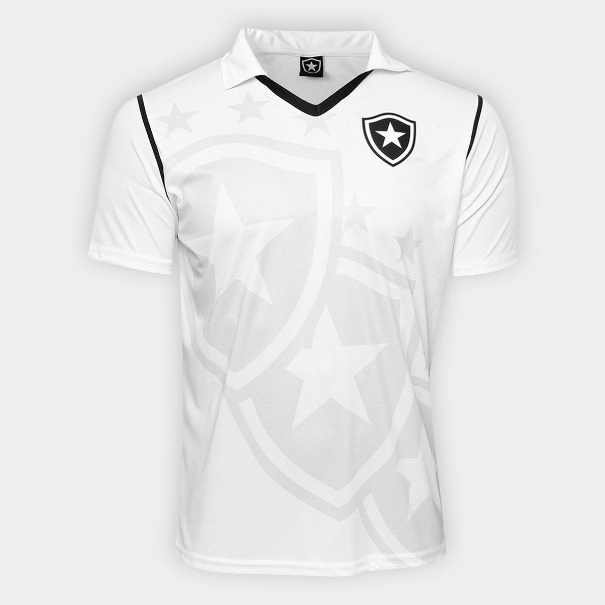 Camiseta Polo Botafogo Escudos Masculina - Branca