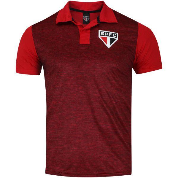 Camiseta São Paulo Polo Mescla SPR Masculina - Vermelho Escuro