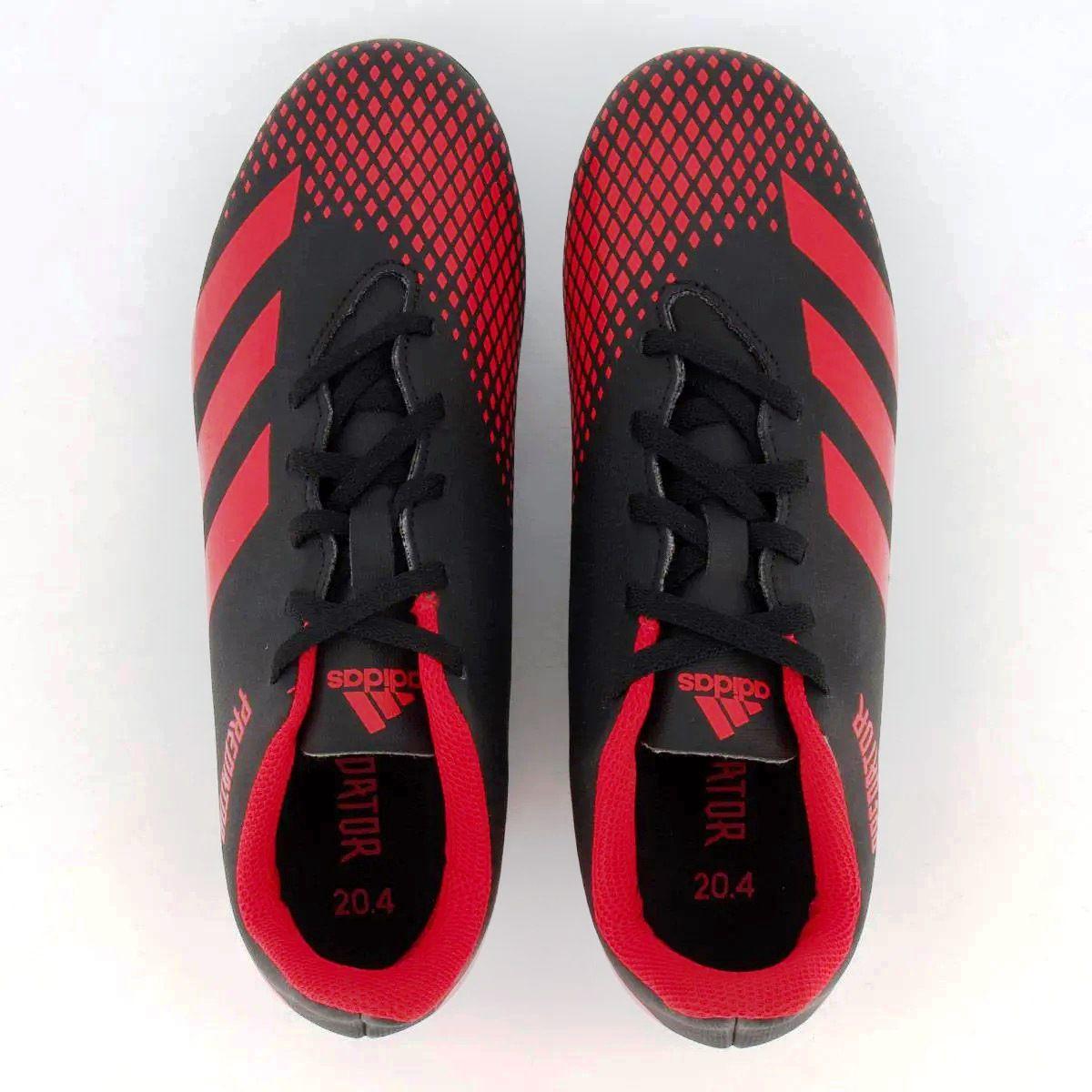 Chuteira Campo Adidas Predator 20.4 FG - Preto/Vermelho
