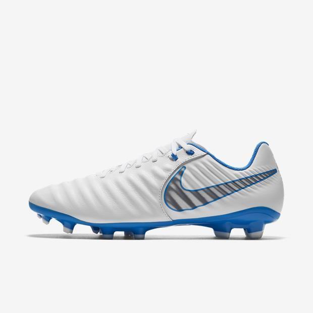 Chuteira Campo Nike Tiempo LegendX 7 Academy FG Masculino - Branco/Azul