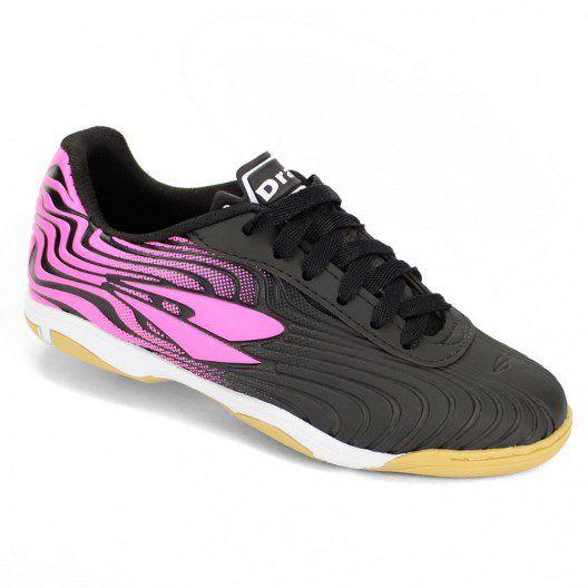 Chuteira Futsal Dray Topfly X2 - Infantil 371 - Preto/Pink