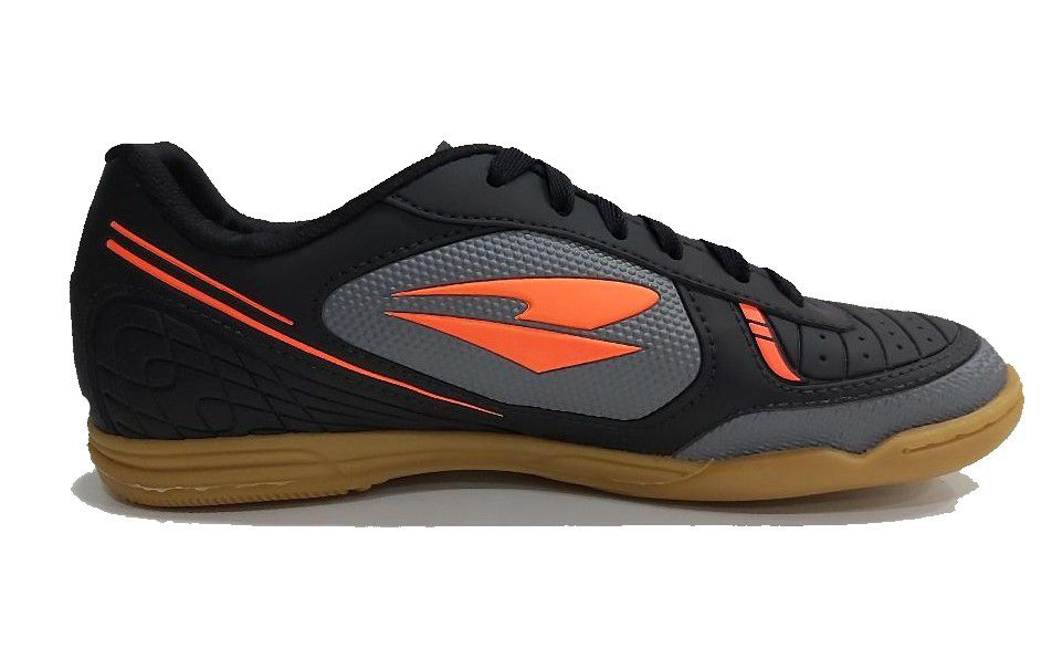 Chuteira Futsal Dray Adulto - Preto e Laranja