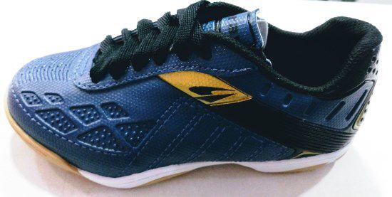 Chuteira Futsal Dray Topfly X2 Infantil 372 - Marinho e Dourado