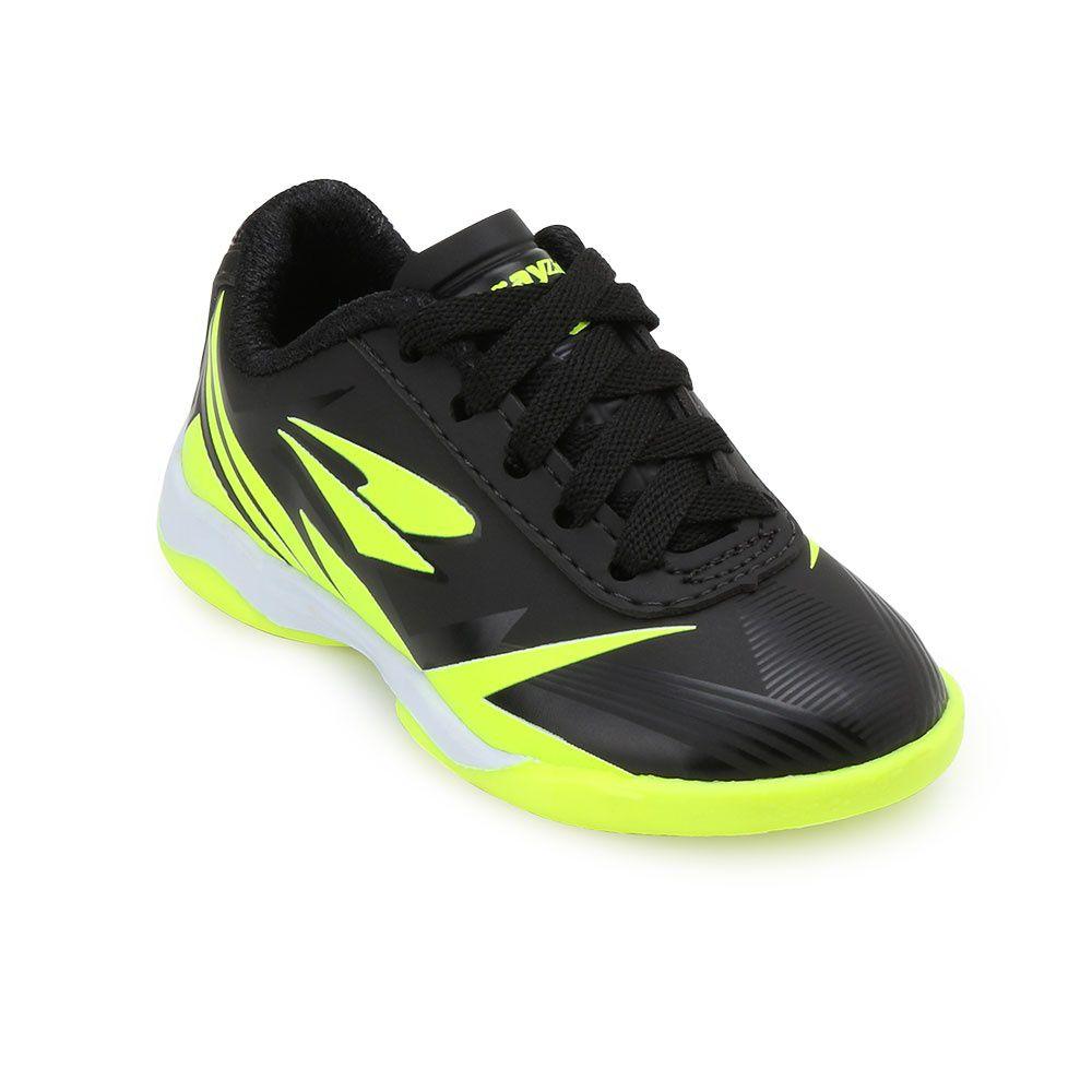 Chuteira Futsal Drayzinho Infantil 118 - Preto/Verde Limão