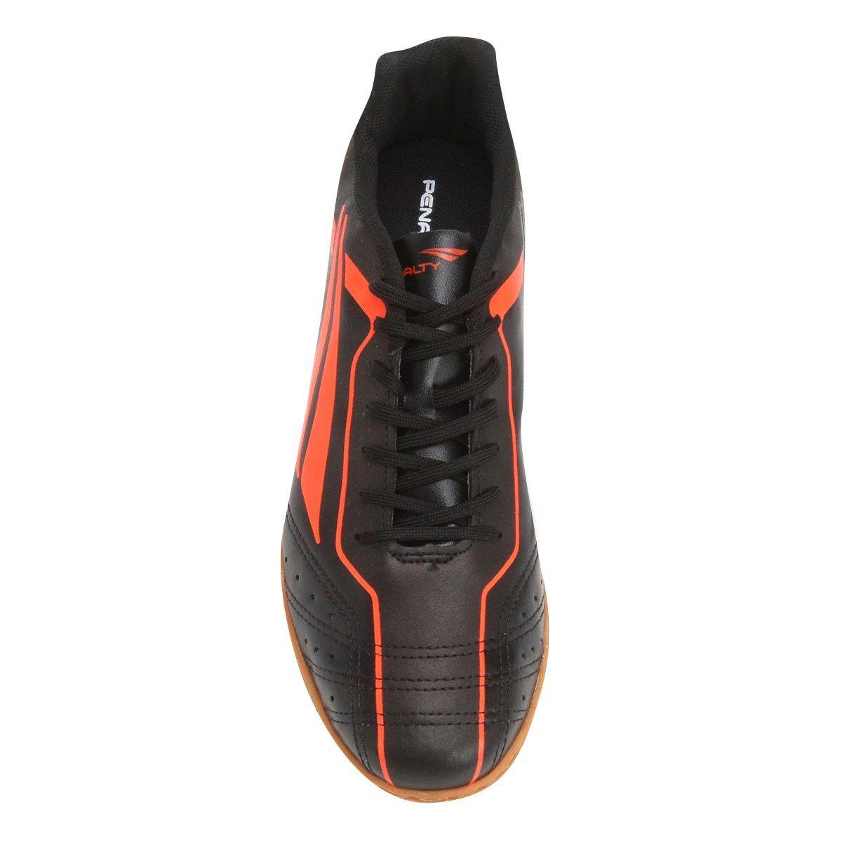 Chuteira Futsal Penalty Matis VI Masculino - Preto/Laranja Escuro