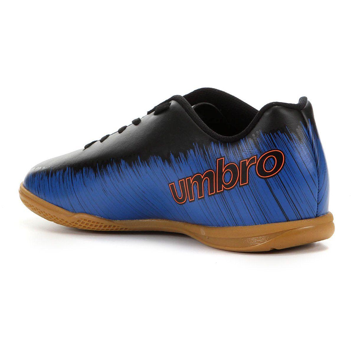 Chuteira Futsal Umbro Burn Jr. - Juvenil - Marinho e Preto