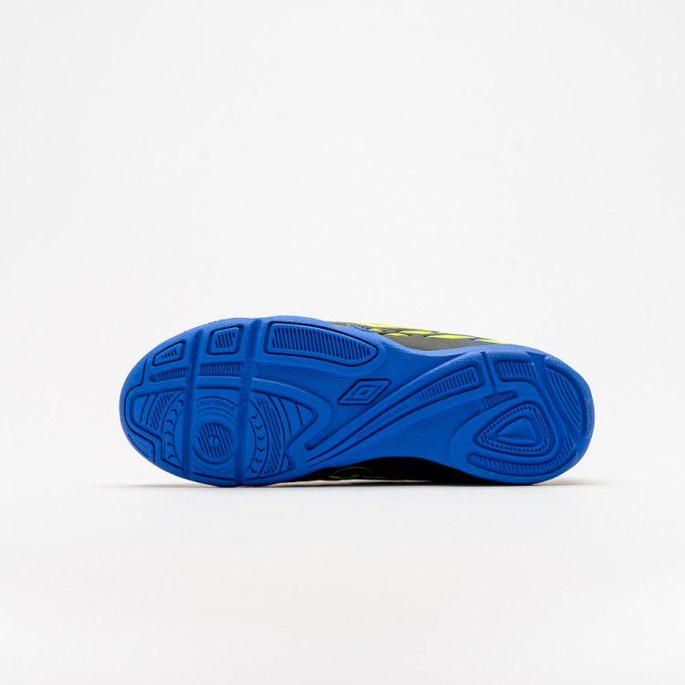 Chuteira Futsal Umbro Fifty II Infantil - Preto/Azul/Limão