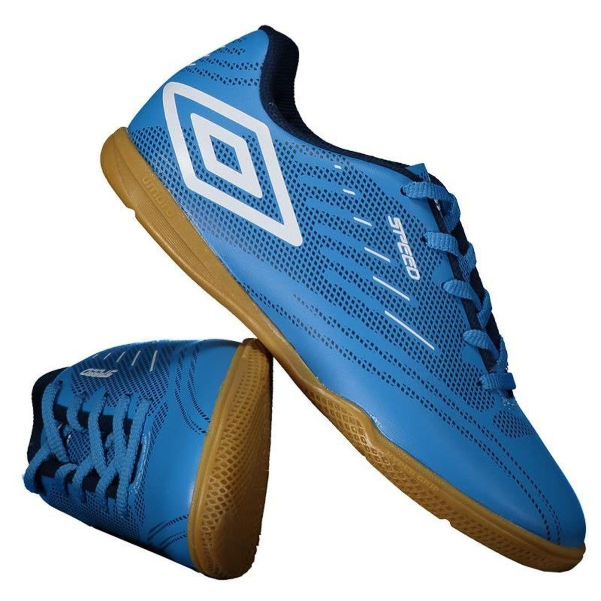 Chuteira Futsal Umbro Speed IV Jr - Juvenil - Azul