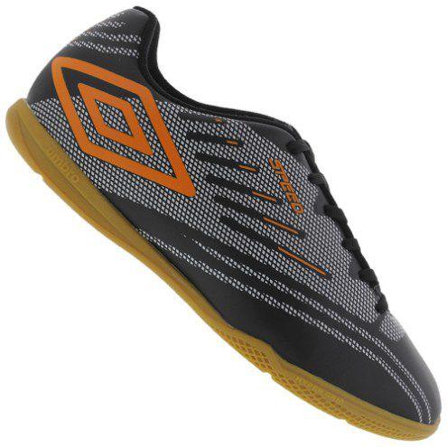 Chuteira Futsal Umbro Speed IV JR. - Preto/Prata/Laranja