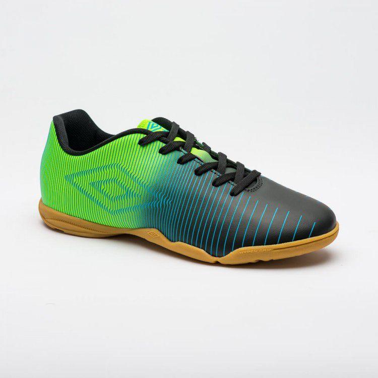 Chuteira Futsal Umbro Vibe Jr - Preto/Verde