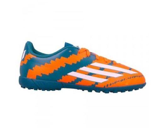 Chuteira Society Adidas Messi 10.4 TF Junior - Verde e Laranja