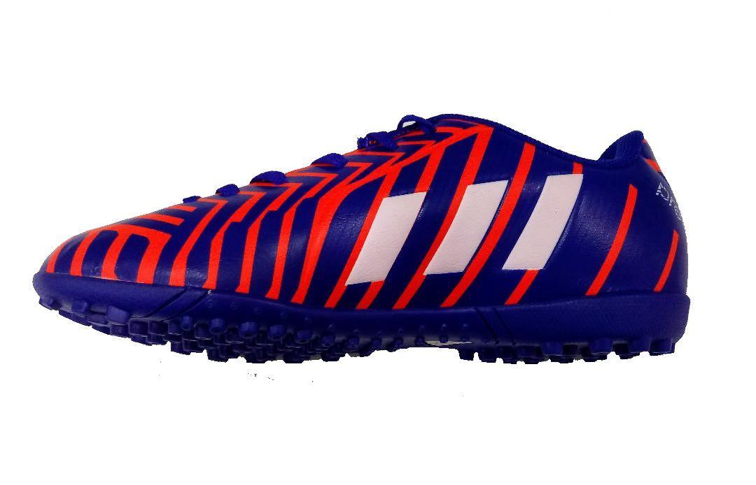 Chuteira Society Adidas Predito Instinct TF Junior- Azul e Laranja