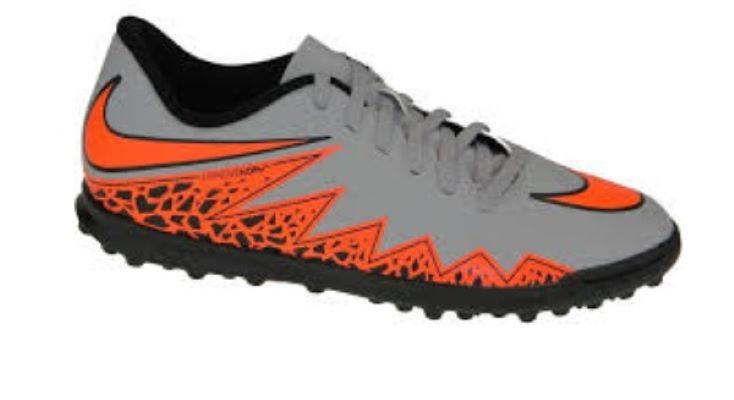 Chuteira Society Nike Hypervenom Phade II Junior TF - Cinza e Laranja