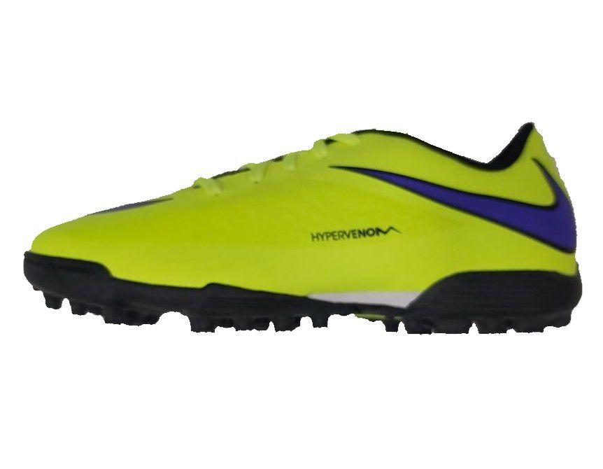 Chuteira Society Nike Hypervenom Phade TF Masculino - Amarelo e Roxo
