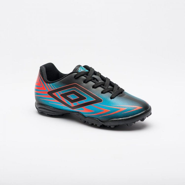 Chuteira Society Umbro Speed III Jr - Preto/Azul/Coral