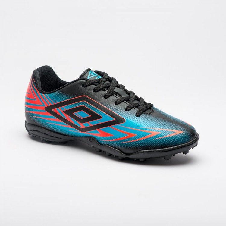 Chuteira Society Umbro Speed III Masculino - Preto/Azul/Coral