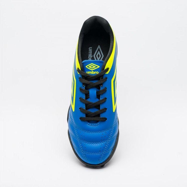 Chuteira Society Umbro Striker IV Masculino - Azul/Limão/Preto