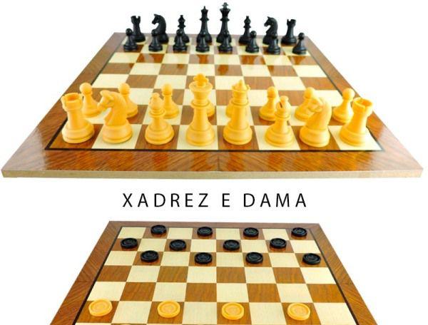 Jogo De Xadrez E Dama Tabuleiro Em Madeira 40x40 Hoyle